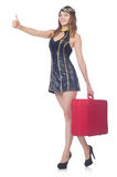 Woman travel attendant with suitcase. On white Royalty Free Stock Image