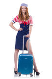 Woman travel attendant Stock Images