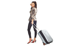 Woman with travel bag Stock Photos