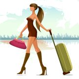 Woman with travel bag. Vector illustration of woman walking with travel bag Stock Image