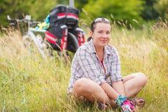 Woman, travel, bike Stock Photography