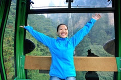Woman travel in cable car Stock Photography