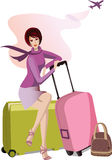 Woman with travel cases. Raster version of  illustration Royalty Free Stock Photography