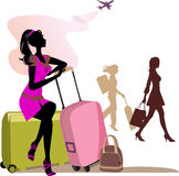 Woman with travel cases. stock photo