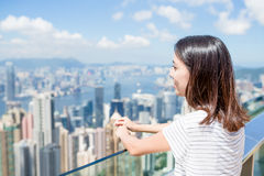 Woman travel in Hong Kong Stock Image