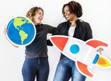 Woman with travel icons together Stock Photo