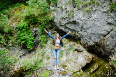 Woman travel in mountain river eco tourist Royalty Free Stock Photography