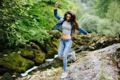 Woman travel in mountain river eco tourist Stock Images