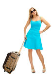 Woman with travel suitcase. Isolated on white Stock Photos