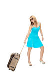 Woman with travel suitcase Stock Photo