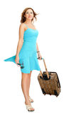 Woman with travel suitcase. Isolated on white Royalty Free Stock Images