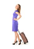Woman with travel suitcase Stock Image
