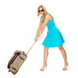 Woman with travel suitcase Stock Images