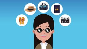 Woman and travel symbols HD animation. Young woman with sunglasses and travel symbols High definition colorful animation scenes stock footage
