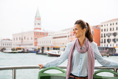 Woman travel by vaporetto in venice, italy Royalty Free Stock Photography