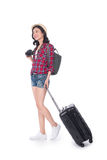Woman travel. Young beautiful asian woman traveler with suitcase Stock Images