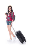 Woman travel. Young beautiful asian woman traveler with suitcase Stock Photo