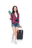 Woman travel. Young beautiful asian woman traveler with suitcase Royalty Free Stock Photography