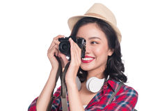 Woman travel. Young beautiful asian woman traveler taking pictur Royalty Free Stock Photography