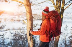 Woman Traveler with backpack hiking Travel Lifestyle adventure concept active vacations outdoor. Beautiful landscape Royalty Free Stock Images