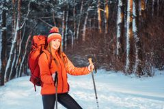 Woman Traveler with backpack hiking Travel Lifestyle adventure concept active vacations outdoor. Beautiful landscape Royalty Free Stock Photography