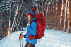 Woman Traveler with backpack hiking Travel Lifestyle adventure concept active vacations outdoor. Beautiful landscape Stock Photos