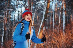 Woman Traveler with backpack hiking Travel Lifestyle adventure concept active vacations outdoor. Beautiful landscape Royalty Free Stock Photos