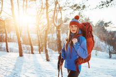 Woman Traveler with backpack hiking Travel Lifestyle adventure concept active vacations outdoor. Beautiful landscape Stock Photography