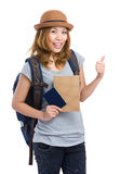 Woman traveler with backpack and passport Stock Photo