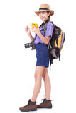 Woman traveler with backpack and using smartphone in searching locations, Stock Photography