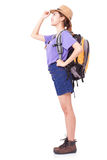 Woman traveler with backpack royalty free stock photo