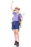Woman traveler with backpack stock photography