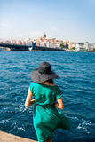 Woman traveler on the Bosphorus in Istanbul Royalty Free Stock Images