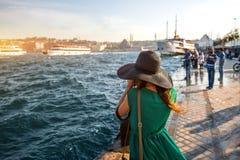 Woman traveler on the Bosphorus in Istanbul Royalty Free Stock Photos