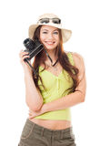 Woman traveler with a camera. White background Royalty Free Stock Photos