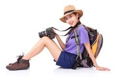 Woman traveler with a camera Stock Photos