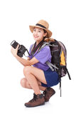 Woman traveler with a camera Royalty Free Stock Images