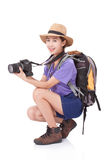 Woman traveler with a camera Stock Photo