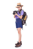 Woman traveler with a camera Stock Image