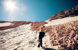 Woman Traveler climbing Travel Lifestyle concept Stock Images