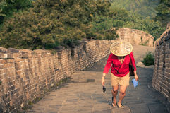 Woman Traveler at the Great Wall Stock Photo