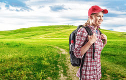 Woman traveler Stock Images