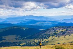 Woman traveler and hiking royalty free stock photo