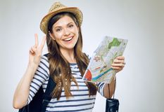 Woman traveler holding paper map Stock Photography