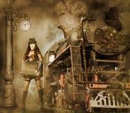 Woman traveler holding suitcase on platform of Railway Station. Steampunk and retro-futurism style. Woman traveler holding suitcase on platform of Railway royalty free stock image