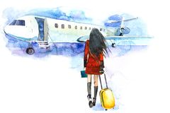 Woman traveler with luggage going to plane. Girl tourist passager walking in to airplane at airport.  Stock Images