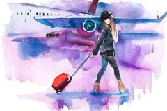 Woman traveler with luggage going to plane. Girl tourist passager walking in to airplane at airport.  Royalty Free Stock Images