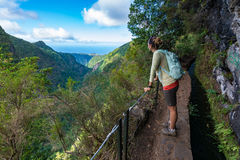Woman traveler at Madeira mountain hiking path. Royalty Free Stock Photography