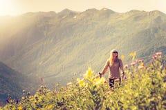 Woman Traveler mountaineering Travel Lifestyle Stock Photography