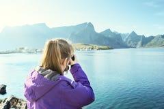 Woman traveler in Norway Stock Photos